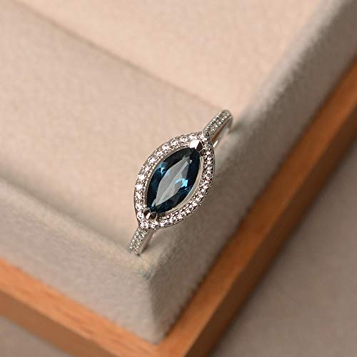 London blue topaz engagement rings for women sterling silver marquise cut halo ring customized - Topaz Marquise Ring