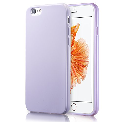 iPhone 6S Lavender Case, technext020 Shockproof Ultra Slim Fit Silicone TPU Soft Gel Rubber Cover Shock Resistance Protective Back Bumper for iPhone 6 Lavender Lavender Purple Iphone