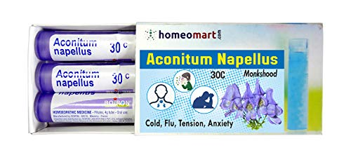 Homeopathy Aconitum Napellus 30C Pills for Cold, Flu, Tension, Anxiety. Pack of 3, Sealed Boiron 4g Tubes