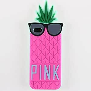 LZX Pineapple And Glasses Silicone Soft Case for iPhone 5/5S (Optional Colors) , Rose
