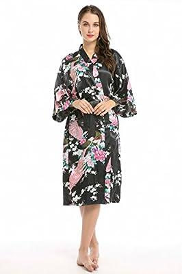 Women's Printing Peacock Vintage Kimono Robe Silk Bridal Robe