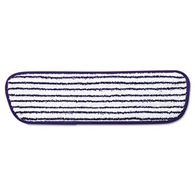 Rubbermaid Commercial Q800WHI Microfiber Finish Pad, 18 x 5 1/2, Blue/White (Case of 6) ()