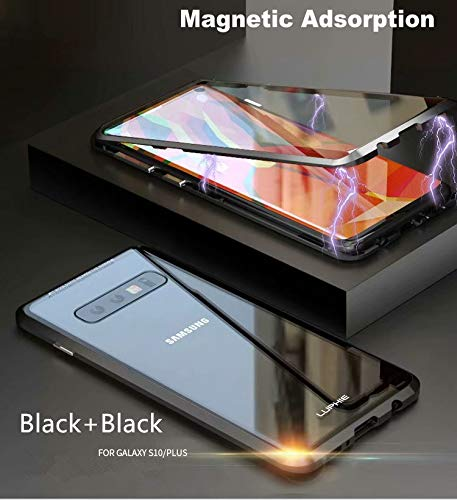 Galaxy S10 Case,Magnetic Adsorption Case Front and Back Clear Tempered Glass 360° Full Body Protection Flip Cover for Samsung Galaxy S10 (Black+Black, Samsung Galaxy S10) by IQIYEVOLEW (Image #2)