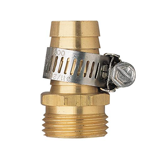Hanobo 2 Pack Brass 3/4 Inch Male Thread Garden Hose Connectors Repair Mender with Clamps