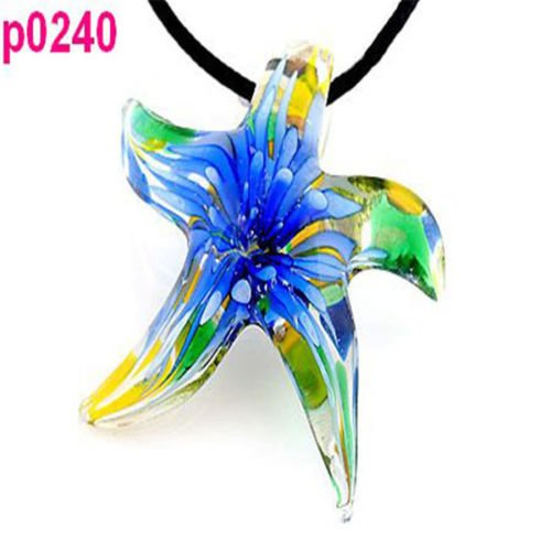 Necklace Starfish Glass (Starfish shape flower star beaded glass Pendant necklace one hs #240)