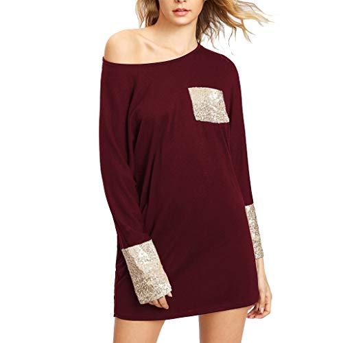 Fashion Womens Casual Swing T-Shirt Dresses Sequined Pocket Long Sleeve Loose Round Neck Dress (Red, ()
