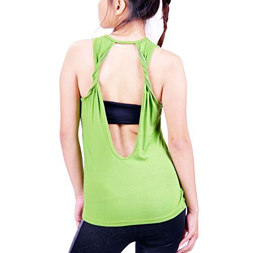- Lofbaz Women's Sexy Twist Open Back Yoga Shirts Workout Clothes Sports Tank Tops Cute Racerback Travel Hiking Juniors Girls Apparel - Lime Green - S