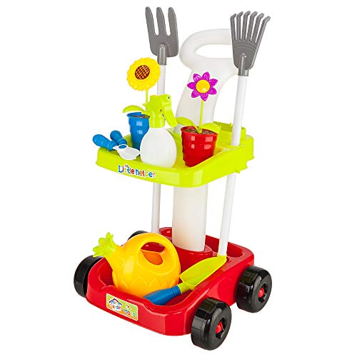 KepooMan Kids Garden Tool Toy Set,Durable Pretend Play Tool Toy Double Decker Trolley Gardening Set with Potted Plants,Watering Pot,Scissors,Shovel