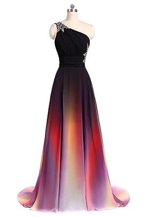 ANGELA One Shoulder Ombre Long Evening Prom Dresses Chiffon Wedding ...