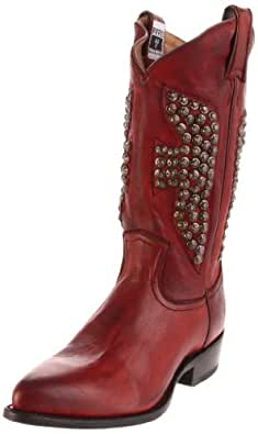 FRYE Women's Billy Hammered Stud Boot, Burnt Red, 6.5 M US