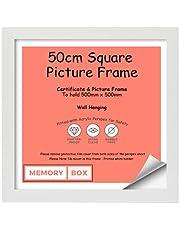 50 x 50 cm kwadratowa biała ramka na zdjęcia, ramka na zdjęcia, ramka na dokumenty, ramka na dokumenty, montaż na ścianie i wolnostojący - 50 cm x 50 cm biała ramka