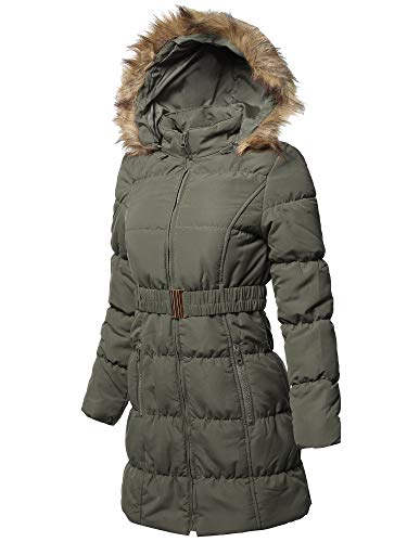 (Awesome21 Causal Zip Up Quilted Fur Hood Mid-Length Padding Jacket Olive Size)