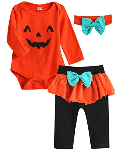 Amazing Halloween Outfits (Dramiposs Baby Girl Halloween Outfit Infant Pumpkin Costume Pant Clothing Sets (Orange,12-18)
