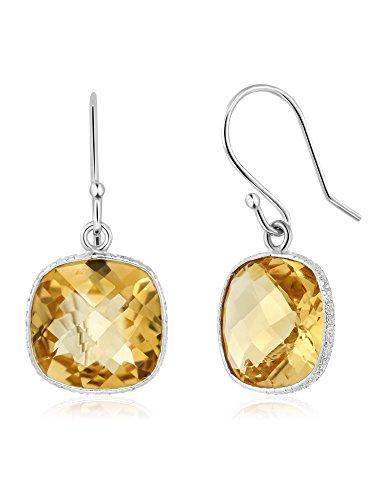 (Gem Stone King 925 Sterling Silver Yellow Citrine Stud Dangle Earrings, 10.00 Ctw, Gemstone Birthstone, 11MM Cushion Cut )