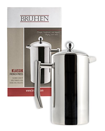 Large Stainless Steel French Press Coffee Maker - Double Wall Tea Or Coffee Press - 36 Oz (1 Liter) - With BONUS EXTRA (Stainless Steel Insulated French Press)