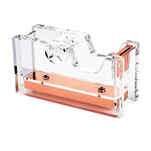 Dispenser Core Desk Tape 1 (Zodaca [Deluxe Acrylic Design] Desktop Tape Dispenser, 1 Inch Core, Clear/Rose Gold)