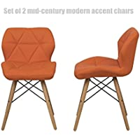 Mid-Century Modern Accent Chairs High-Density Sponge Seat Padded Durable Dowel Legs Comfortable Ergonomic Mid-Back Seat - Set of 2 Pumpkin/Orange #1296a