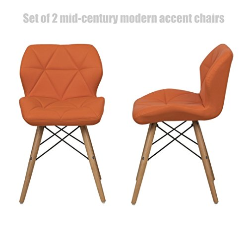 Mid-Century Modern Accent Chairs High-Density Sponge Seat Padded Durable Dowel Legs Comfortable Ergonomic Mid-Back Seat - Set of 2 Pumpkin/Orange - Hours Settlers Green