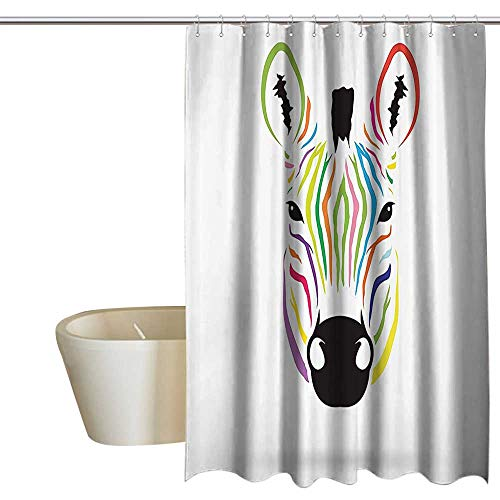 SKDSArts Shower Curtains Vines Animal Decor,Colorful Exotic Zebra Abstract Artwork Print,Black and White Red Yellow Green Blue Pink Orange Magenta 48