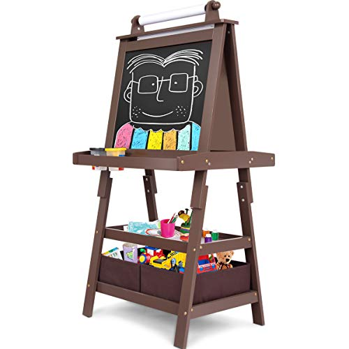 Costzon Kids Art Easel, 3 in 1 Double Durable Sided Art Easel with Chalk Board & Paper Roll, Two Storey Storage Space with Two Storage Bins, Large Capacity Tool Tray, Espresso ()