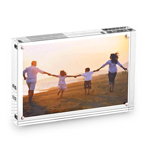 (HESIN 4 by 6 inch Clear Acrylic Photo Frame Stable Tabletop Magnet Frame Double Sided Picture Frame with Gift Box (4x6))