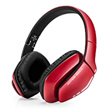 Bluetooth Over Ear Headphones Wireless HIFI Gaming Headset with Microphone Fold-able Deep Bass and Sweat proof Recharge-able Wireless V4.1 headset for iPhone6S iphone7 plus XBOX PS4 PC Laptop Bluetooth Devices(Red)