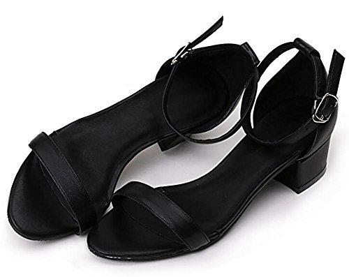 SYYAN Femmes Rome Cuir Open Toe Manuel Pompe Des Sandales Loisir NOIR , black , 39