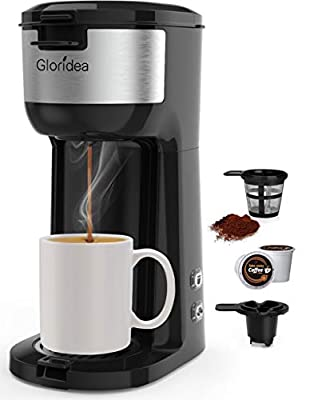 Single Serve Coffee Maker for K Cup Pod and Ground Coffee, Mini Coffee Pot for Fast Brewing, Compact Design Thermal Drip Instant Coffee Machine with Brew Strength Control and Self Cleaning Function by Gloridea