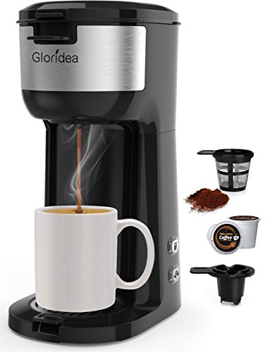 Single Serve Coffee Maker for K Cup Pod and Ground Coffee, Mini Coffee Pot for Fast Brewing, Compact Design Thermal Drip Instant Coffee Machine with Brew Strength Control and Self Cleaning Function (Best Way To Clean Coffee Machine)