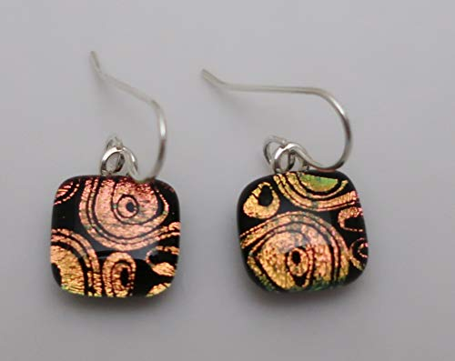 Fused bright peach coral swirls circles dichroic glass petite dangle sterling silver earrings #169