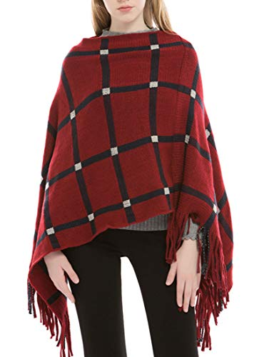 GH Women's Plus Size Poncho Wrap Turtleneck Tassel Knit Travel Wrap and Blanket Poncho Red One Size]()
