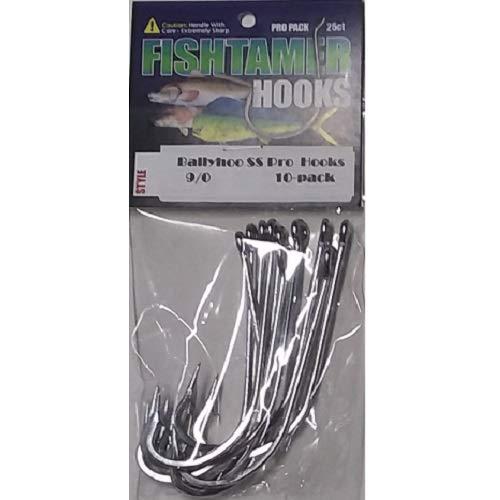 FishTamer Ballyhoo Stainless Big Game Hooks Sizes 6/0-10/0 - Super Sharp Pro 10 Pack (9/0)