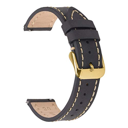 - 20mm Quick Release Watch Bands,EACHE Genuine Leather Watch Straps for Men & Women Black Gold Buckle