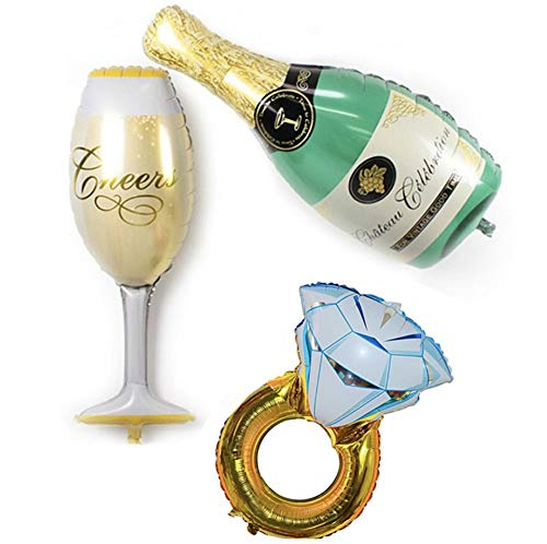 CheeseandU 3Packs Party Large Foil Balloons - Green Bottle & Champagne Goblet & Diamond Ring for Bar Valentines Wedding Decors Aluminium Balloon Birthday Party Decoration Supplies (STY-4)