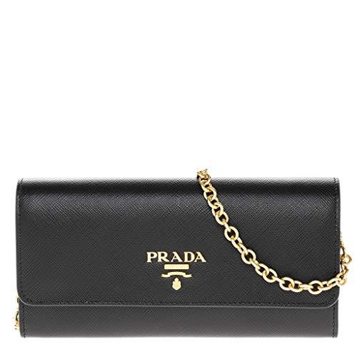 Prada Women's Saffiano Black Wallet Shoulder Bag with Gold Metal Accents