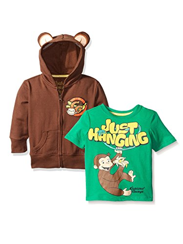 - Curious George Zip up Hoodie and Short Sleeve Tee (4T, Brown/Green)