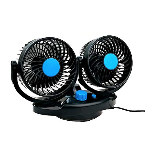 GOVOW-Tech Small Fans Electric for Women & Children 12V/24V Dual Head Car Cooling Oscillating Dashboard Ventilation Air Fan