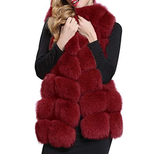 Gilet Femmes Fourrure Unie Décontracté Outwear Chaud Veste Manteau Manches Couleur D'hiver Vin Sans Rouge Long Fausse rrq0wd