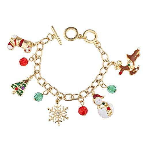 Snowman Charm Beaded (Lux Accessories Christmas Snowflake Snowman Reindeer Beaded Charm Bracelet)