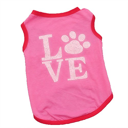 WEUIE Big Promotion! Puppy Clothes Pet Clothes Puppy Dog Cat Pink FootprintsVest T Shirt Apparel Clothing (XS, Pink)