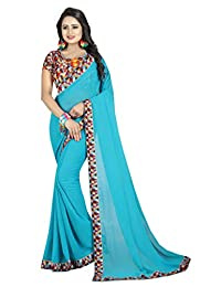 Shonaya Women`S Turquoise Colour Georgette Printed Saree with Unstitched Blouse Piece