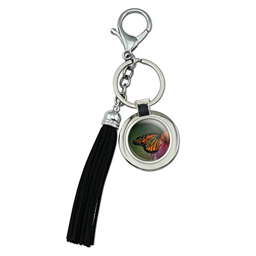 Monarch Butterfly and Coneflower Chrome Plated Metal Round Leather Tassel Keychain - Monarch Metal Tags
