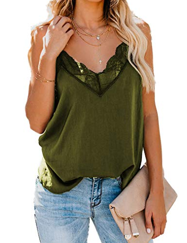 Qearal Women Blouse Womens Tank Tops Silk Satin Lace Camisole Plain Strappy Casual Sleeveless Vest 2XL Army Green