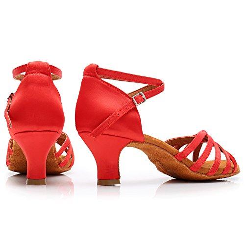 Mujer SWDZM Tacón Estándar LP217 Zapatos 5cm de Ballroom Rojo modelo Latin Baile dqqgzr