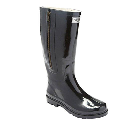 Forever Young Women Waterproof Mid-Calf Black Rubber Rain Boots w/Decorative Side Zipper, 7