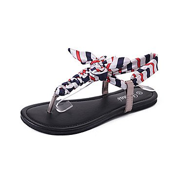 Wome's sandalias Verano Confort Casual de tela plana Bowknot tal¨®n caminando US6 / EU36 / UK4 / CN36