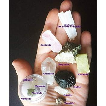 Rare Complete Synergy Twelve 12 Set Of Crystals - Phenakite Moldavite  Natrolite Petalite Danburite Tektite Azeztulite Scolecite Herderite  Tanzanite