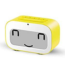 LED Travel Alarm Clock | Dynamic Emoji LED Display Multifunctional Electronic Snooze Smart Backlight Desktop Digital Double Alarm Clocks/Timer/Thermometer/Date/Day countdown by VARANDA (Yellow)
