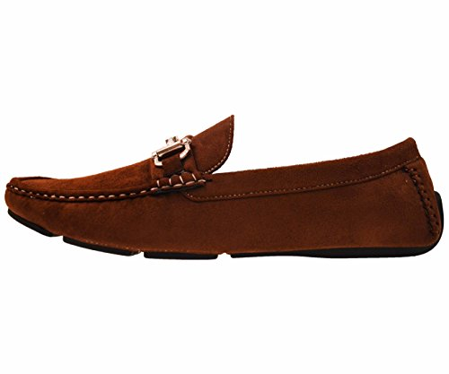 Amali Mens In Microfibra Morbida Faux Suede Mocassino Driving Shoe Con Fibbia Stile Norwalk, Walken, Knotter Fudge