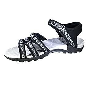 Viakix Womens Sport Sandals – Comfortable Athletic Walking Shoes for Outdoors, Water, Hiking, Beach Sandal, Black, 7.5 B (M) US